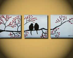 2 canvas tree paintings - Google Search