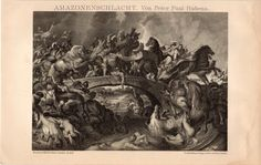 1895 Fine Battle of the Amazons Print by Peter Paul by Craftissimo, €21.95
