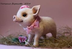 Nyusha By Tatiana Barakova - Piglet is made in the art needle felting.Size: 23 x 18 cm.Material 100% Wool - New Zealand kardoches)Glass eyes, decorated with lashes. Muzzle tinted dry pastel.Head is decorated hat made of cotton. Scarf around his neck as their cotton)