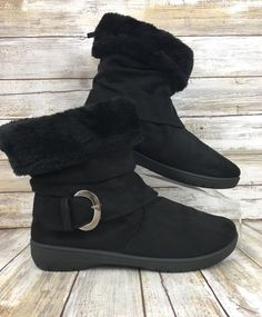 Sag Harbor Womens 7 Black Fabric Faux Fur Slip On Roll Down Ankle Boots Booties #SagHarbor #AnkleBoots #Casual
