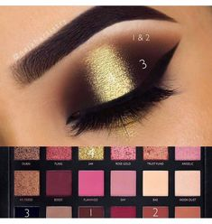 EYES: Textured Rose Gold Palette in shades Sandalwood Henna and Coco Eyeshadow in Noir Sundipped Glow kit in Summer under the brow Huda Rose Gold, Huda Beauty Rose Gold Palette, Huda Beauty Eyeshadow, Huda Beauty Makeup, Huda Palette, Golden Eyeshadow, Eye Makeup Steps, Makeup Eye Looks, Smokey Eye Makeup