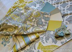 Turquoise and Yellow Fabric   Gray, yellow, and aqua fabrics   Home Decor   Pinterest