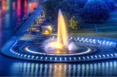The Fountain at Point State Park at night, Pittsburgh, PA