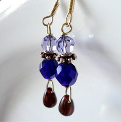 Moroccan Inspired Red Blue and Purple Glass by MajaEarrings, $12.00