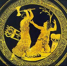 Clytemnestra kills Cassandra - Athenian red-figure cup (430 BC) via uncg.edu. To the left of Clytemnestra is Apollo's tripod, and to the right of Cassandra is his altar with a laurel tree. Cassandra was a priestess of Apollo at Troy.