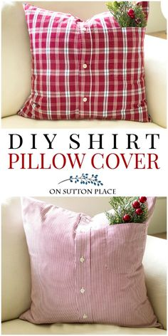 Easy tutorial to make a repurposed shirt pillow cover from a men's button up shirt. DIY shirt pillow cover. #pillow #diyhomedecor #sewing #sewingproject