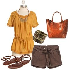 A fashion look from May 2012 featuring mustard top, mid rise shorts and low heel sandals. Browse and shop related looks. Late Summer Outfits, Day To Night Outfits, Fashion Forward, Fashion Beauty, Personal Style, Inspire, My Style, Polyvore, How To Wear