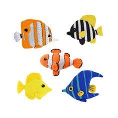 Tropical Fish Crochet Pattern, Amigurumi Fish Crochet Pattern Set: Clownfish, Striped Boarfish, Angelfish, Tang Fish, Butterfly Fish by VliegendeHollander on Etsy https://www.etsy.com/listing/387065622/tropical-fish-crochet-pattern-amigurumi