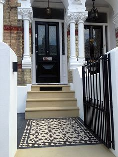 bull nose york stone steps daisy grate victorian mosaic tile path wrought iron rail and gate clapham london rendered painted garden wall (victorian garden path) Front Door Steps, Best Front Doors, Front Stairs, House Front Door, House Entrance, Front Path, Garden Entrance, Victorian Front Garden, Victorian Front Doors