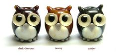 Lampwork glass owl beads, pendants and charms by Laura Sparling