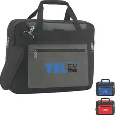 """Como-Cargo 14.1"""" laptop brief. Our Cosmo-Cargo computer bag has fully padded sides and extra room for your laptop. The front zippered accessory pocket is the perfect place for your logo. The organizer and file pocket inside the main compartment keep business running smoothly. Made of 600 denier polyester with fabric lining."""
