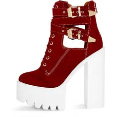 Alisia Red Suedette Cleated Sole Extreme Heel Boot ($39) ❤ liked on Polyvore featuring shoes, boots, lace up shoes, laced up shoes, lace front boots, buckle shoes and front lace up boots