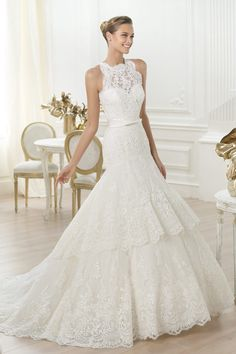 Mermaid Lace Wedding Dresses Pick Up Two Layers Skirt New Style USD 289.99 EPPF6NZ42K - ElleProm.com