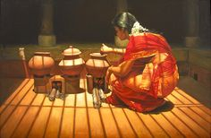 'Woman Cooking' oil painting by Ilayaraja Awesome paintings.with excellent lightings & camera@model