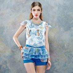 Elf Sack Girls Summer T-shirt Round Neck Flounced Hem Printing Piecing | ELF SACK