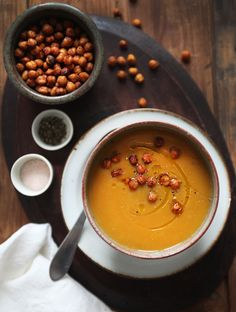 Gold Rush Soup with Smoky Chickpea Croutons