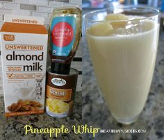 Make your own delicious and refreshing pineapple whip with three simple ingredient.  Combine 1 cup of almond milk, 1 can of frozen pineapple chunks, and a table spoon of honey (optional) into the blender and blend until its smooth and creamy.  This is a simple and easy treat to share with family and friends that they will definitely enjoy.   www.iheartdiyprojects.com
