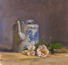Julian Merrow-Smith daily painting titled Roses and Chinese teapot - click for enlargement