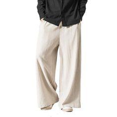 Men/Women Wide Leg Pants Vintage Casual Trouser 2018 Autumn New Cotton Linen Elastic Waist Loose Plus Size Solid Color Pants Wide Leg Pants, Khaki Pants, Linen Trousers, Pants Outfit, Pants For Women, Men Pants, Latest Fashion Trends, Fashion Brand, Men Shirts