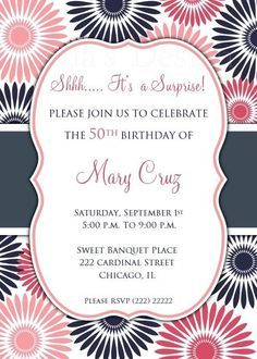 Surprise Birthday Invitation for Any Age - Adult Birthday Party - Printable Invite - 30th 40th 50th Birthday - Pink Flowers by Ilona's Design on Etsy I @Ilona's Passion
