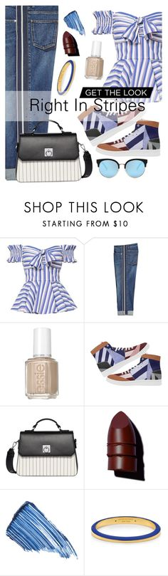 """Right in Stripes"" by maddythestoken ❤ liked on Polyvore featuring Caroline Constas, Alexander McQueen, Essie, Fiorelli, Anastasia Beverly Hills, Sisley, Henri Bendel, stripesonstripes and PatternChallenge"