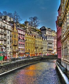 """This image was taken in the Spa City """" Karlovy Vary"""" (Carlsbad), located in the Western Bohemia, Czech Republic and it shows beautiful """" House Facades """" in the Historic Old Town. Travel Sights, Places To Travel, Places To See, Places Around The World, Around The Worlds, Prague Czech Republic, Holiday Places, World Of Color, Beautiful Places To Visit"""