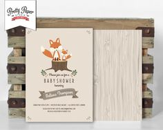 Woodland Baby Shower Invitation // Woodland Fox Invite // Gender Neutral Baby // Brown Taupe // Baby Fox // Wood // Printable Digital BS03