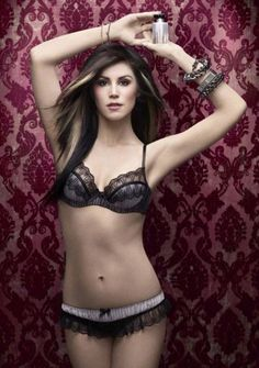 Kat Von D, with her new makeup line that hides tattoos all over her body. She looks beautiful!!