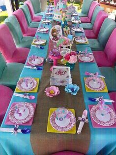 Pink and blue party table at a Frozen birthday party! See more party ideas at CatchMyParty.com!