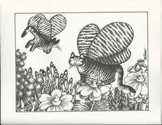 B. Kliban Cat Original Vintage Art Print Butterfly by CMVintageArt