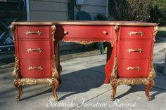 A Gorgeous Desk Makeover By Southside Furniture Revival Using Emperor's Silk Chalk Paint® decorative paint by Annie Sloan