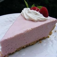 A lovely fresh raspberry puree is folded into a creamy mousse. The filling is mounded in a graham cracker crust, and then the pie is chilled until it's ready to serve. Summer Desserts, No Bake Desserts, Just Desserts, Icebox Desserts, Jello Desserts, Homemade Desserts, Raspberry Cream Pies, Raspberry Recipes, Pie Recipes