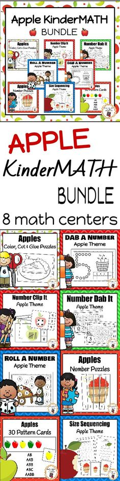 My kids love working with these apple themed math centers! They are engaged and have fun learning patterns, size sequencing, numbers, counting and more! Kindergarten Homeschool Curriculum, Kindergarten Lesson Plans, Kindergarten Apples, Homeschooling, Preschool Apples, Preschool Puzzles, Kindergarten Centers, Apple Activities, Addition Activities