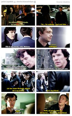 I love how John reassures Sherlock in the last one. He says of course Sherlock, you are my best friend. Because Sherlock doesn't quite believe anyone would care enough about him to call him their best friend. But John does.