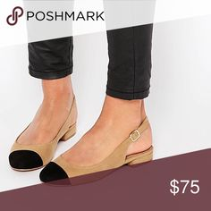 ASOS toe cap suedette sling back flats beige black Size 8. Beautiful. Sold out online Shoes Flats & Loafers