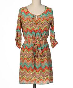Take+a+look+at+the+brandon+&+ashley+Teal+&+Orange+Zigzag+Three-Quarter+Sleeve+Dress+on+#zulily+today!