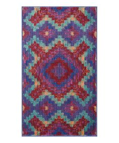 Take a look at this Red & Teal Diamond Isabelle Rug on zulily today!