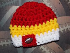 NFL Kansas City Chiefs inspired baby hat  made to by LadybugLB, $13.00