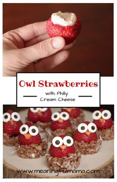 Owl Strawberries made with Philadelphia cream cheese - Meaningful Mama Philly Cream Cheese, Cream Cheeses, Party Fiesta, Bon Dessert, Food Themes, Food Crafts, Food Humor, Cute Food, Creative Food