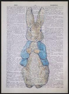 Peter Hase Vintage Wörterbuch Seite Kunstdruck Bild Kinderzimmer Beatrix Potter