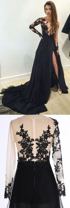 Black Prom Dresses, Long Prom Dresses,Mermaid Prom Dress,Black V-Neck Chiffon Sweep Train Evening Dress with Appliques