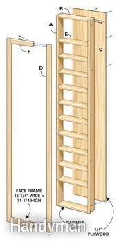 Components of basic built-in shelves assembly shown in exploded view.
