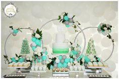 Mint Green and White Hula Hoop Wreaths