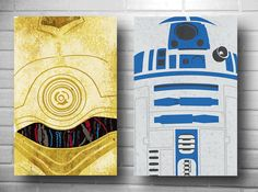 Star Wars drones set minimalist  C-3PO and R2D2 posters geekery. $26.00, via Etsy.