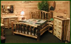 Hypnotic Log Cabin Bedroom Decor Ideas with Tongue and Groove Knotty Pine Paneling from Rustic Cabin Decor
