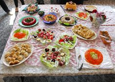 The full spread for our potluck, including Spaghetti Loaf, Marshmallow Mint Salad, and Parker House Rolls 1930s Recipe, Congealed Salad, Parker House Rolls, Sushi Lunch, Mint Salad, Best Cookbooks, Vegetable Casserole, Baked Fish, Make Ahead Meals