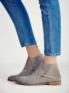 Summit Ankle Boot | Vintage inspired distressed suede ankle boots, that have been individually hand washed to achieve a worn-in look and feel. Easy slip-on surplice design with hidden elastic gusset. Each pair will vary due to the hand washing technique used.