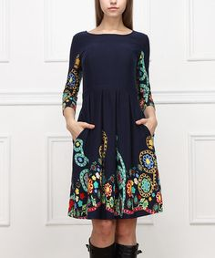 Look at this #zulilyfind! Navy Floral Fit & Flare Dress #zulilyfinds