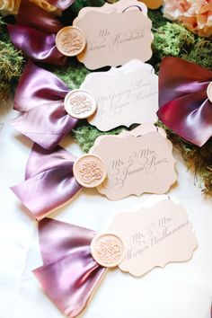 beautiful escort cards. i love that the calligraphy can be done ahead of time. (photo by kay english)
