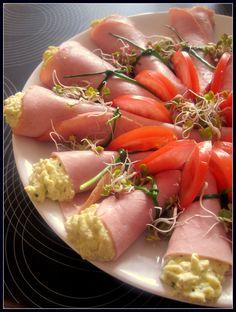 Easter Ham cornets stuffed with eggs, cream and horseradish dijonnaise
